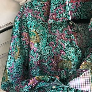 ALAN FLUSSER TURQUOISE PURPLE PAISLEY LONG SLEEVE